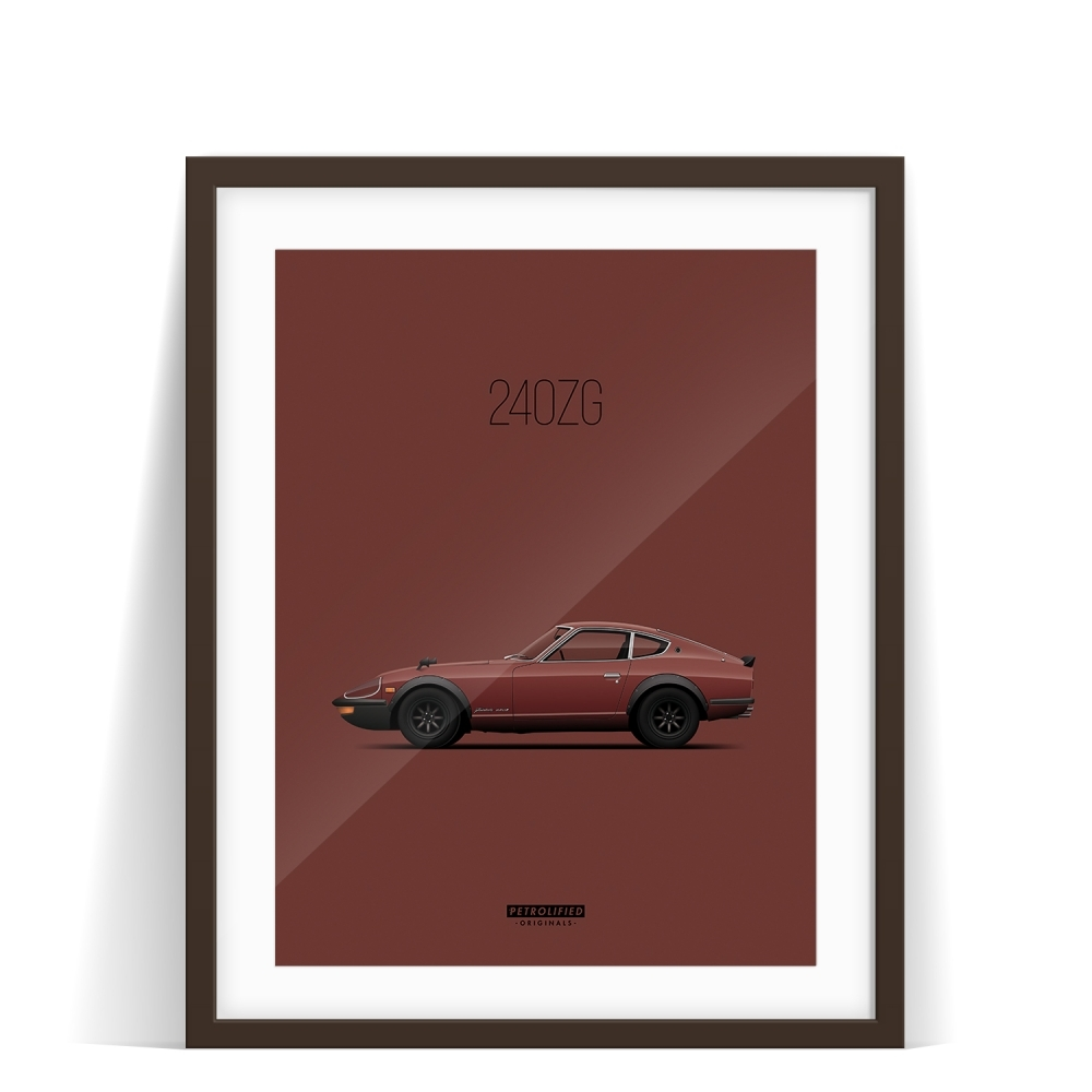 car prints, datsun 240zg, luxury car art