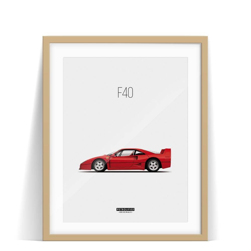 car prints, ferari f40, luxury car art
