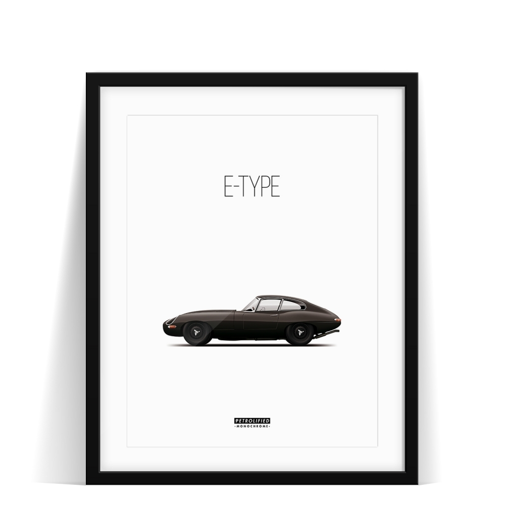 car prints, jaguar, jaguar etype monochrome, luxury car art