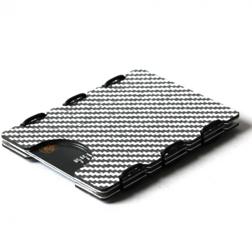RFID Carbon Fiber Card Case, Silver