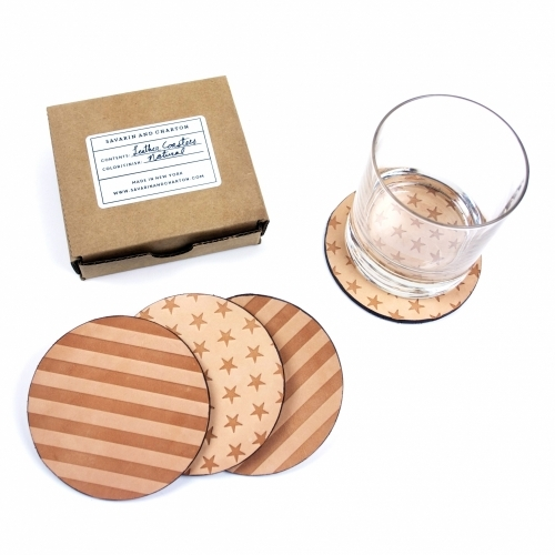 Leather Coaster Set, Natural