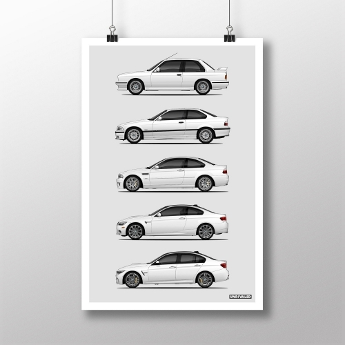 BMW M3 Generations Print, Unrivaled