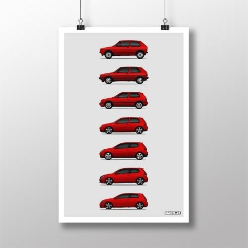 Volkswagen Golf GTI Generations Print