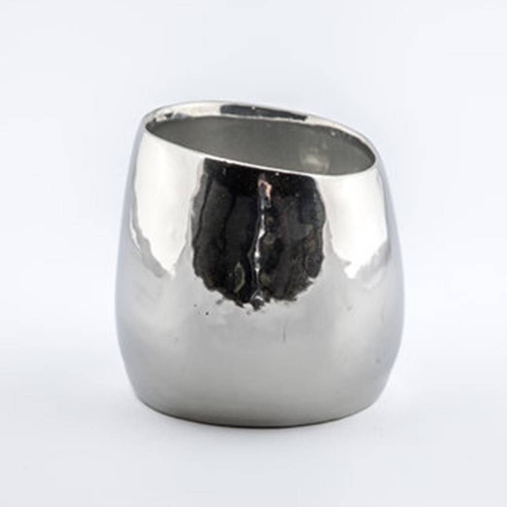 Baz Pot, Silver - Shiny Round Pot