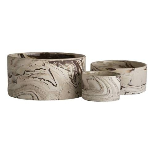 Agateware Flat Bowl, Set of 3 - A Set of Decorative Bowls Ideal for any Interior Space