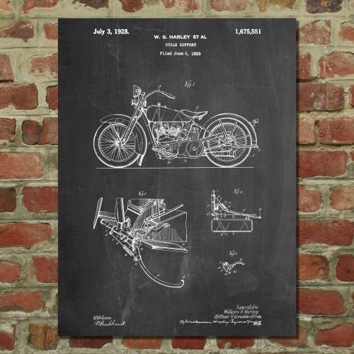 Harley Motorcycle Patent Print - Patent Prints