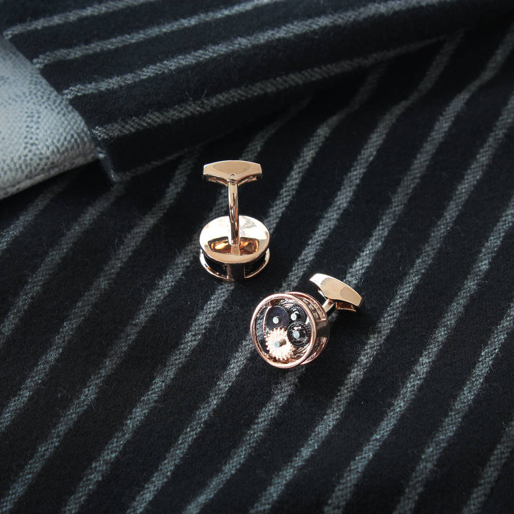 Oval Skeleton - Steel Cufflinks made from Watch Movements