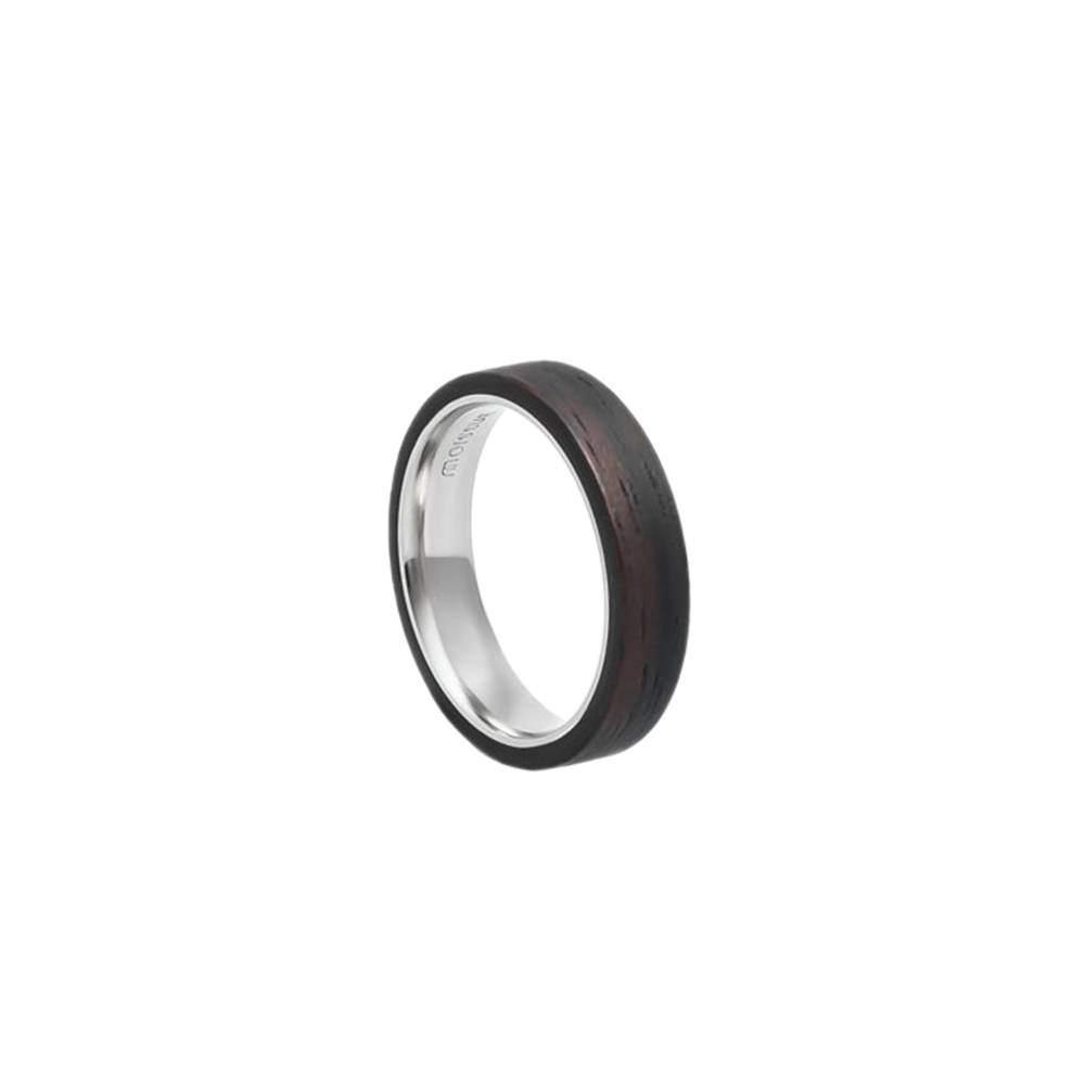 Mono Slim Ring- Wood Skin and Stainless Steel Ring
