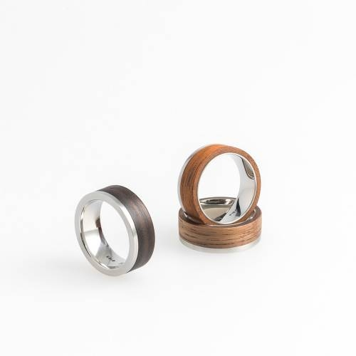 Glint Ring- Wood Skin and Stainless Steel Ring