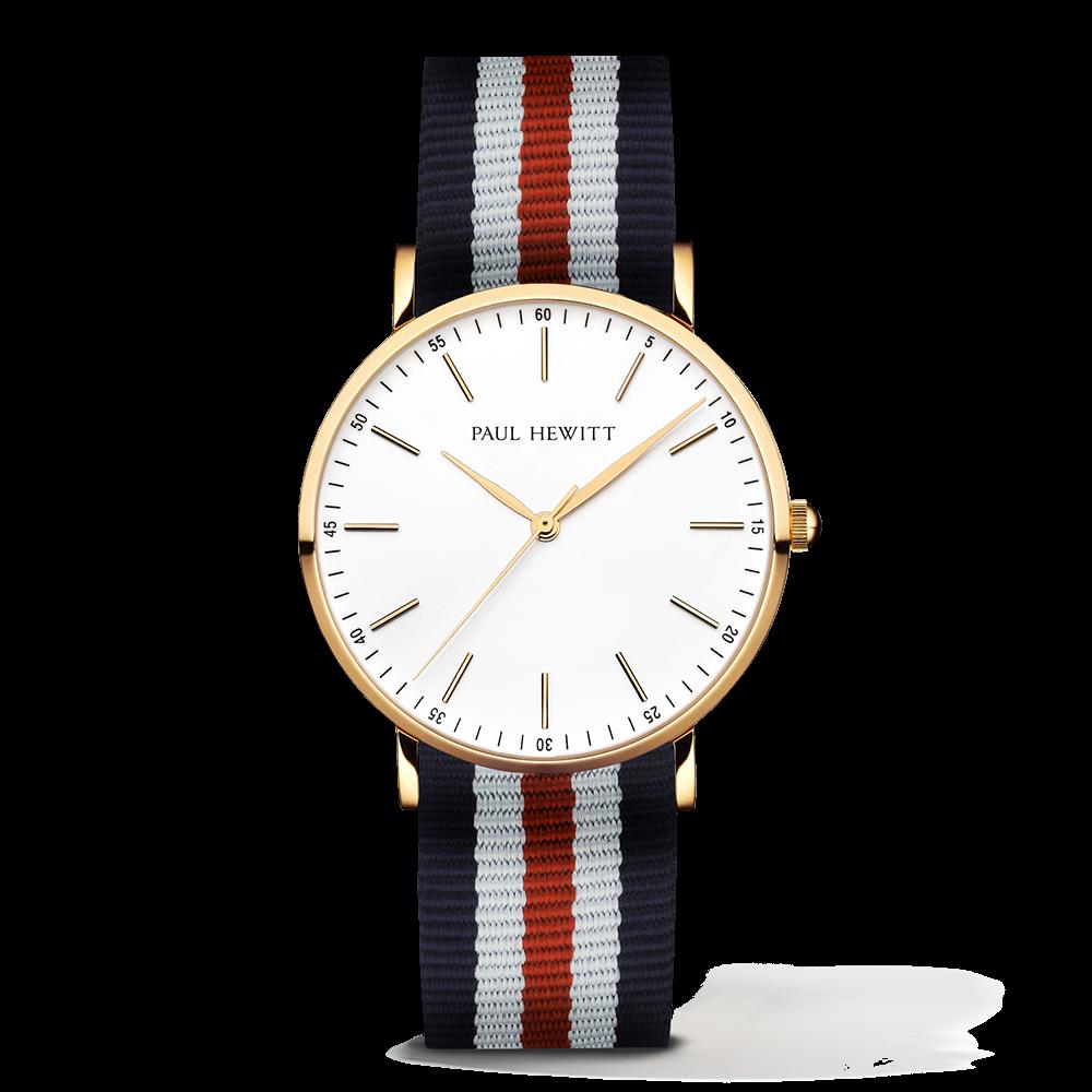 Gold Line Watch, Navy/White/Red II - Paul Hewitt