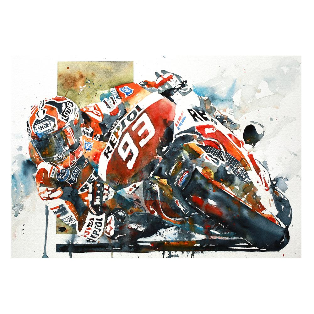 Marc Marquez MotoGP Watercolor Print   Honda   By Bilbeisi