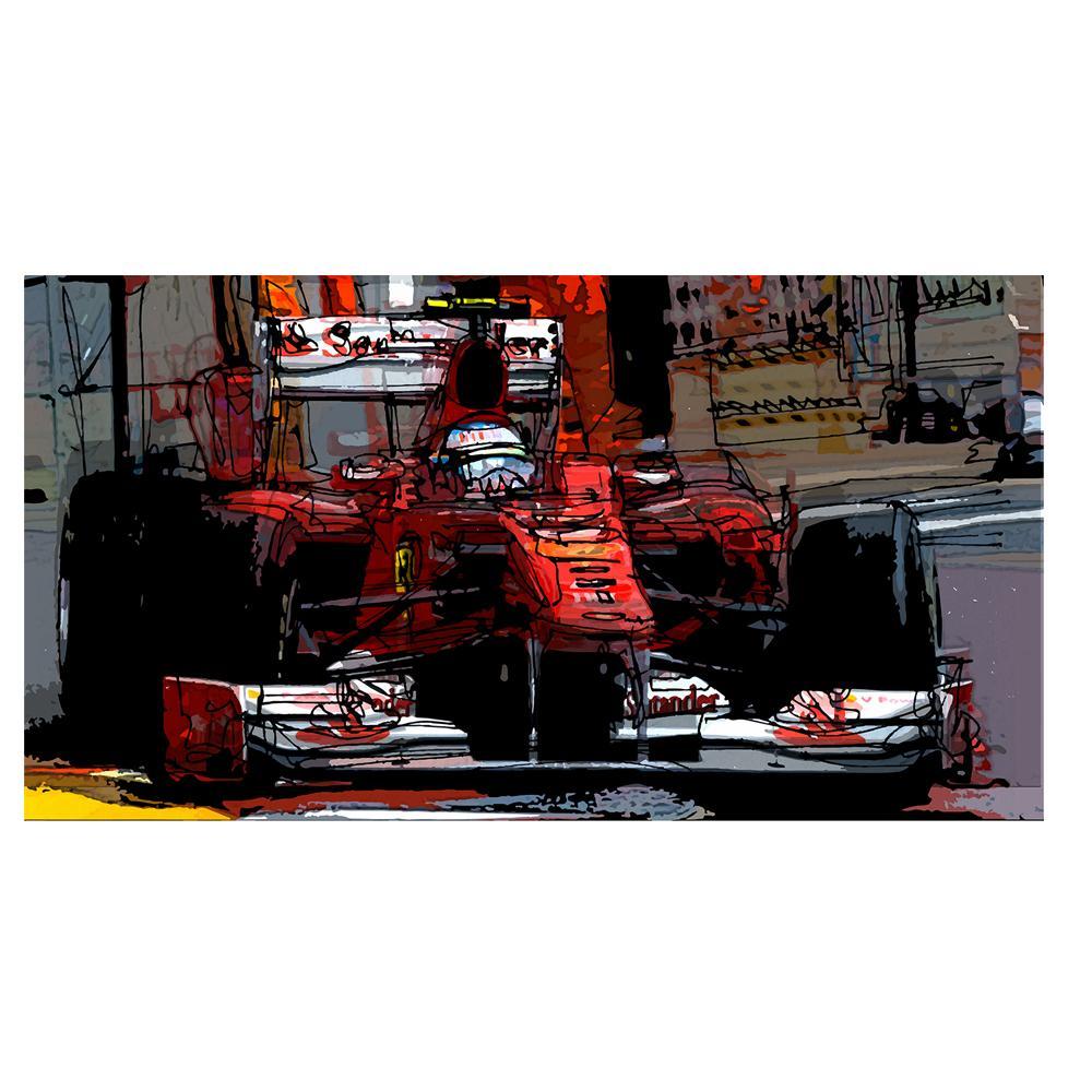 Fernando Alonso F1 Ferrari Watercolor Print | by Bilbeisi