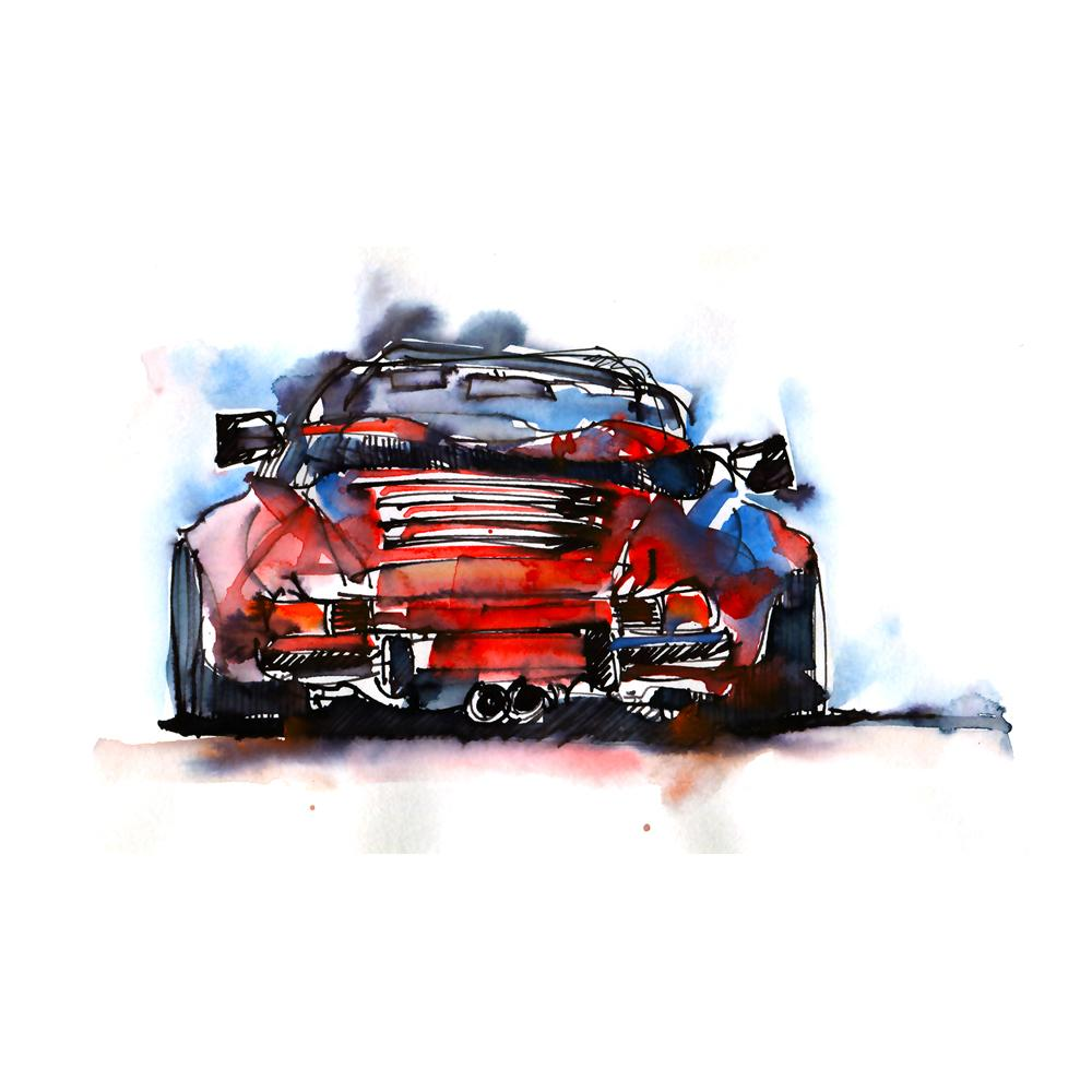 Porsche 911 Carrera Cabriolet Watercolor Print | By Bilbeisi