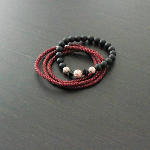 Vallour Bracelet Black and Rose Gold Diamond Set