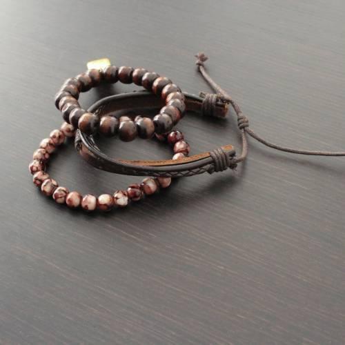 Vallour Bracelet Brown Leather Set