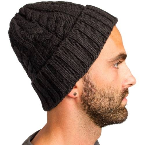 Cable Knitted Beanie, Black