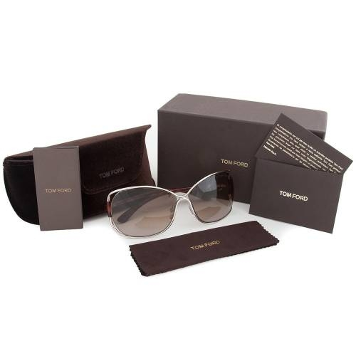 Tom Ford FT0156 18F Eugenia Sunglasses - Silver Frame and Br