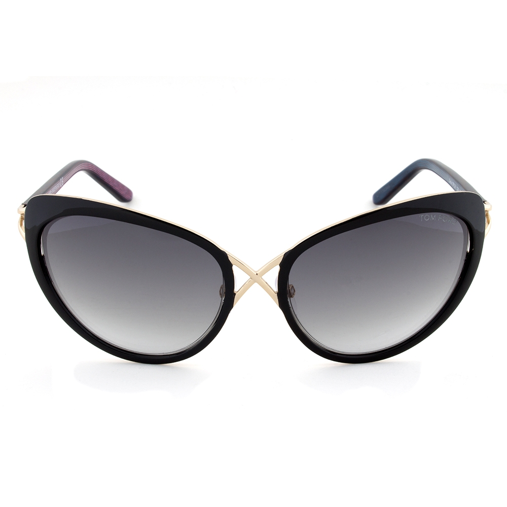 Tom Ford Daria Black and Gold Cateye Sunglasses