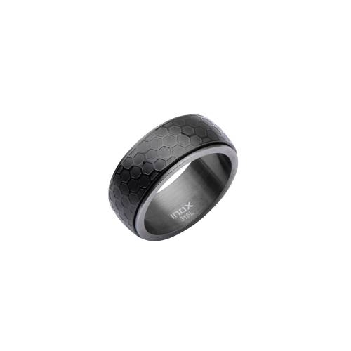 IP Black Steel and Gun Metal Car Grille Ring | Inox Jewelry