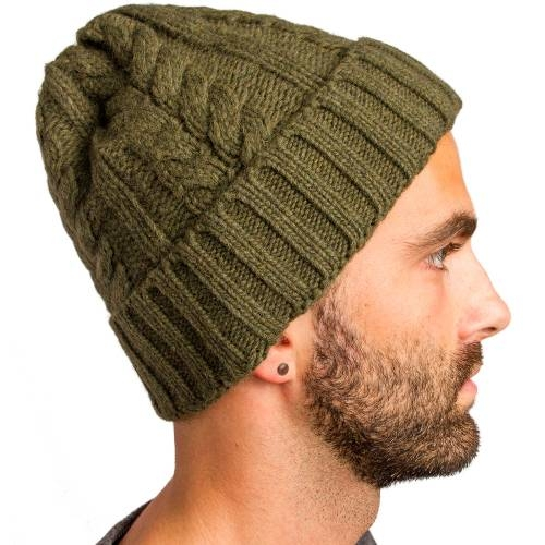 Cable Knitted Beanie   Olive
