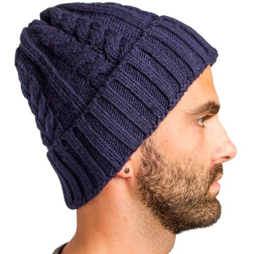 Cable Knitted Beanie, Indigo