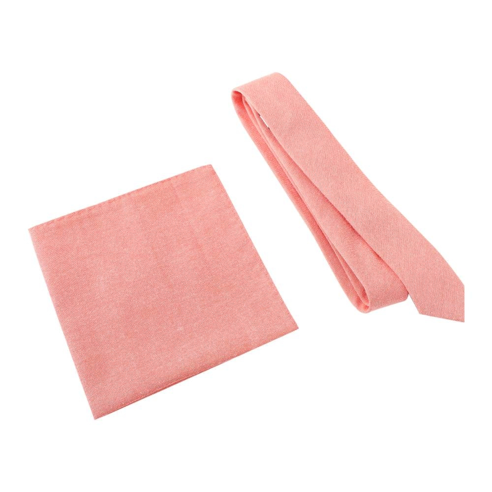 Vice and Virtue Salmon Tie with Pocket Square