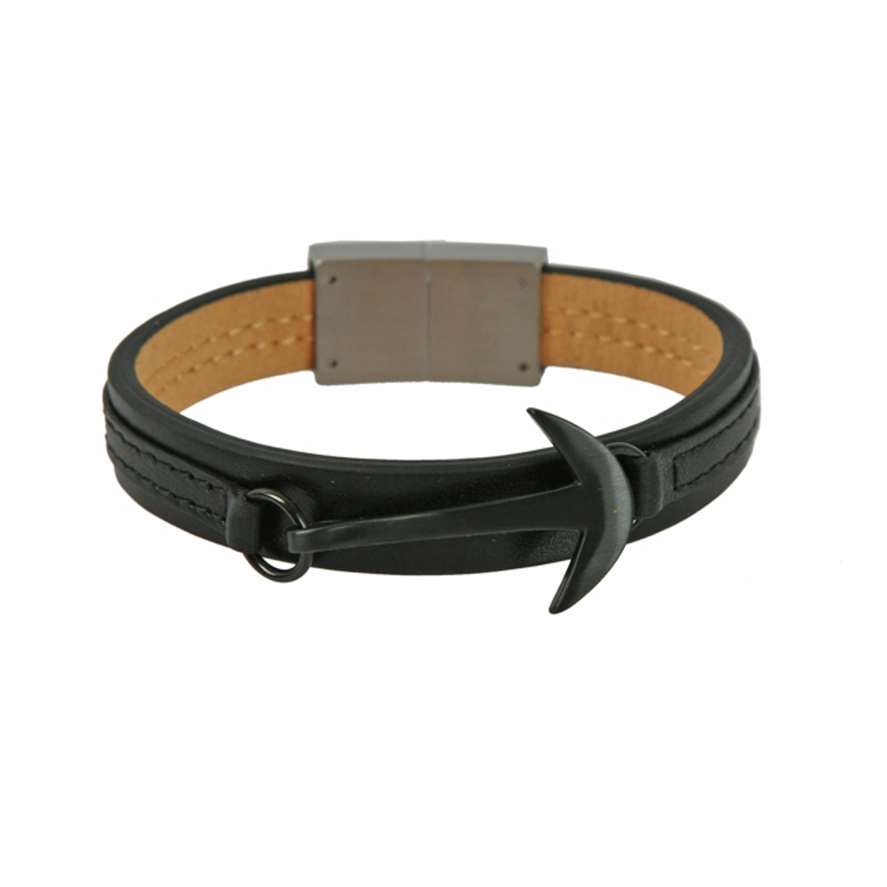 Black Mersin Hook Leather Cord Bracelet - Buttigo