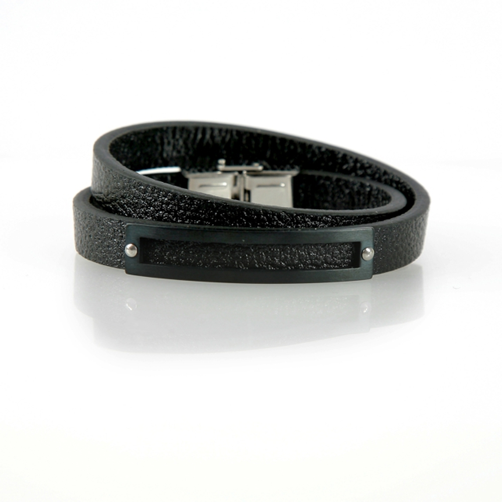 Black Bandırma Leather Bracelet - Buttigo