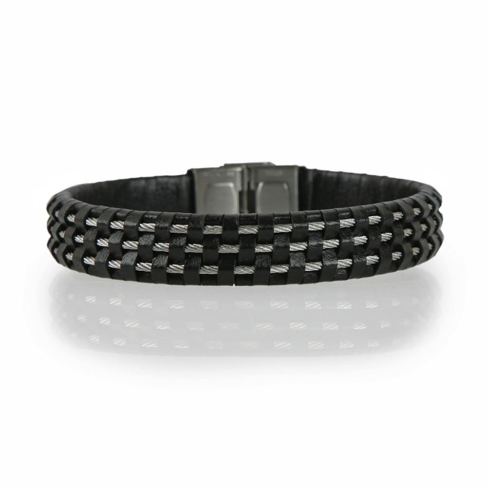 Black and Silver Braided Leather Cord Bracelet - Buttigo