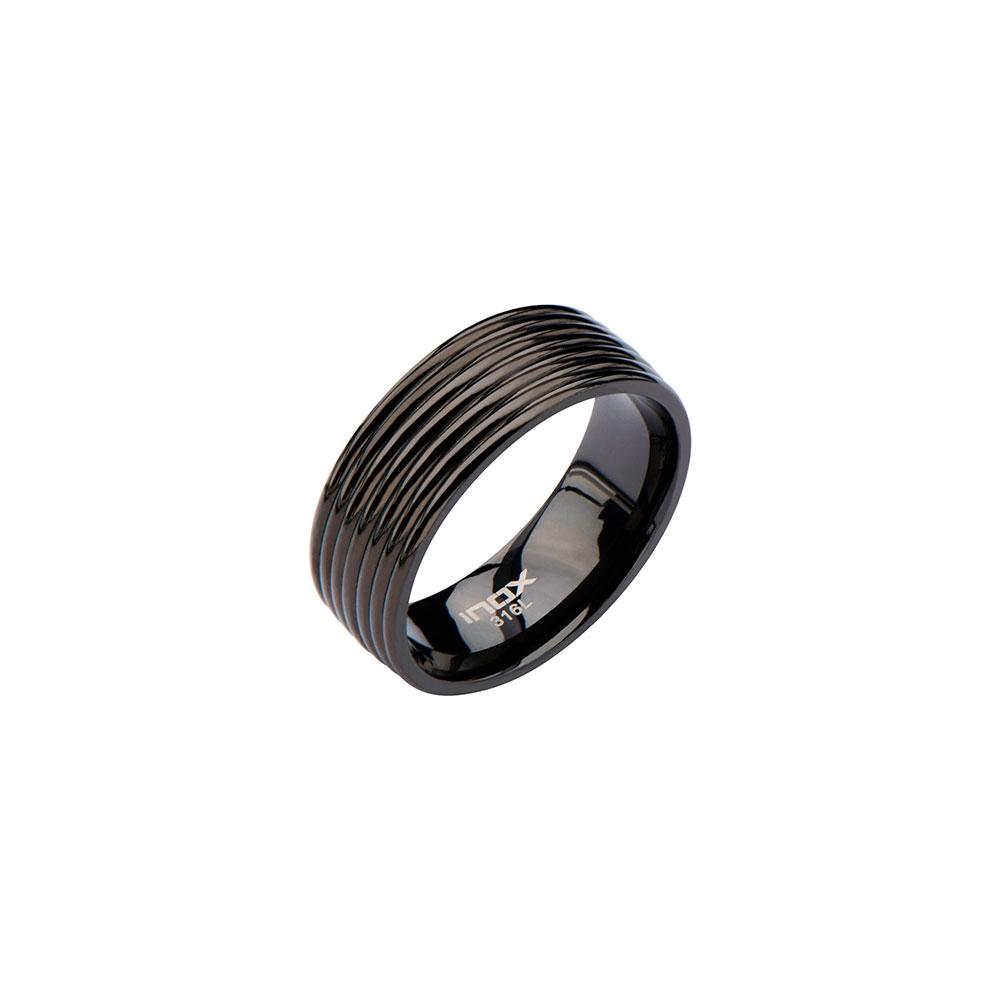 Men's Stainless Steel Black IP Groove Ring | Inox Jewelry