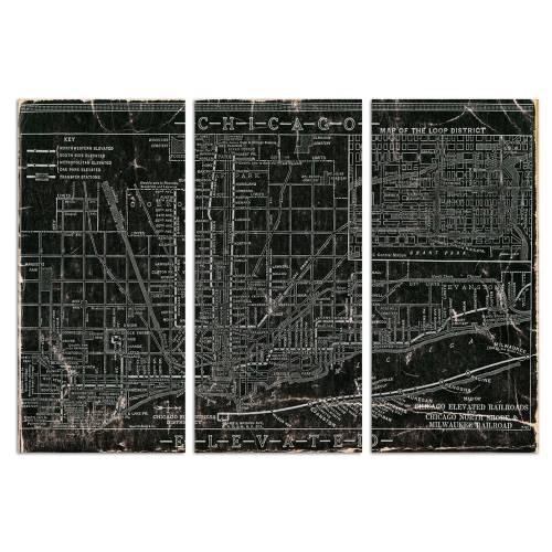 Chicago Railroad Triptych   Canvas Art