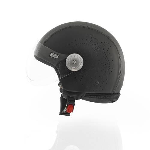 Laser Cut Leather Helmet | Black
