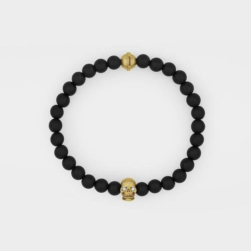 Onyx Bracelet | 18ct Gold Skull | Diamonds