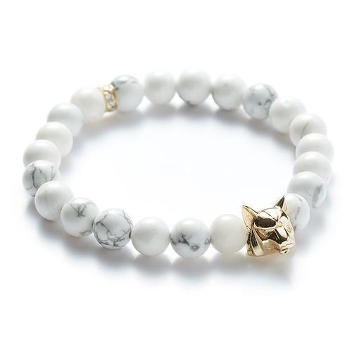 Howlite | Gold Wolf Bracelet