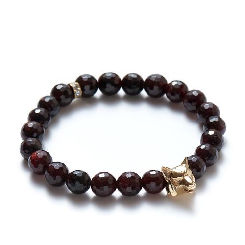 Garnet| Gold Wolf Bracelet