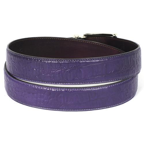 Men's Crocodile Embossed Calfskin Leather Belt   Purple