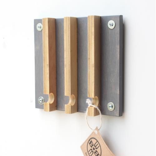 Industrial Modern Key Rack | 3 Hooks | Wood Butcher Designs