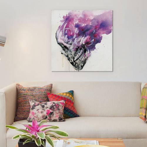Purple Skull by Black Ink Art Canvas Print