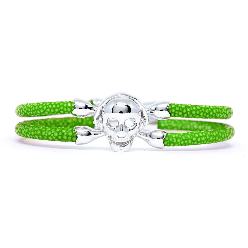 Skull Bracelet | Green with Silver Skull | Double Bone
