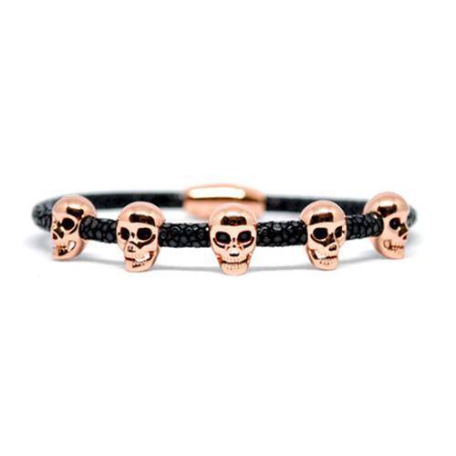 Bracelet | Multi Skull | Black/Rose Gold