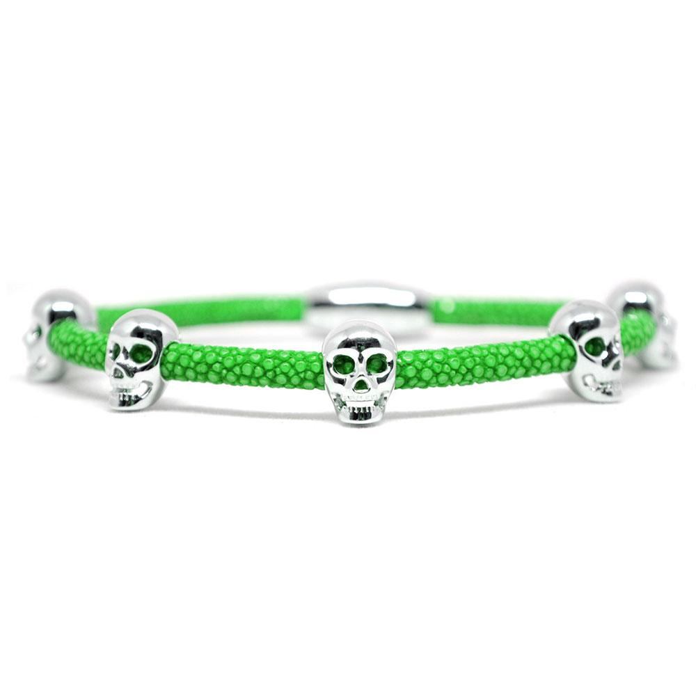 Skull Bracelet | Green with Silver Skulls | Double Bone