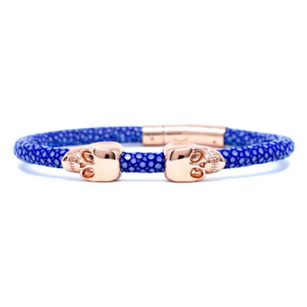 Skull Bracelet | Blue | 2 Rose Gold Skulls | Double Bone