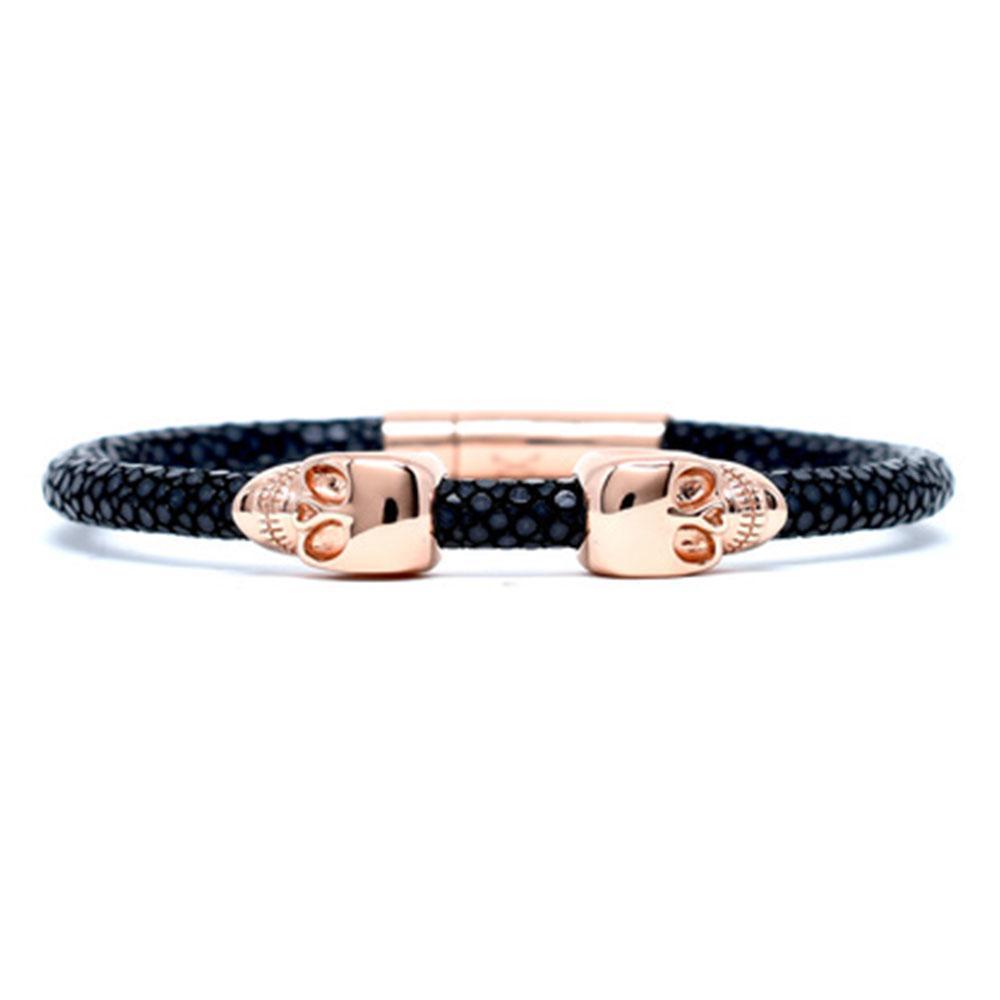Skull Bracelet   Black   2 Rose Gold Skulls   Double Bone