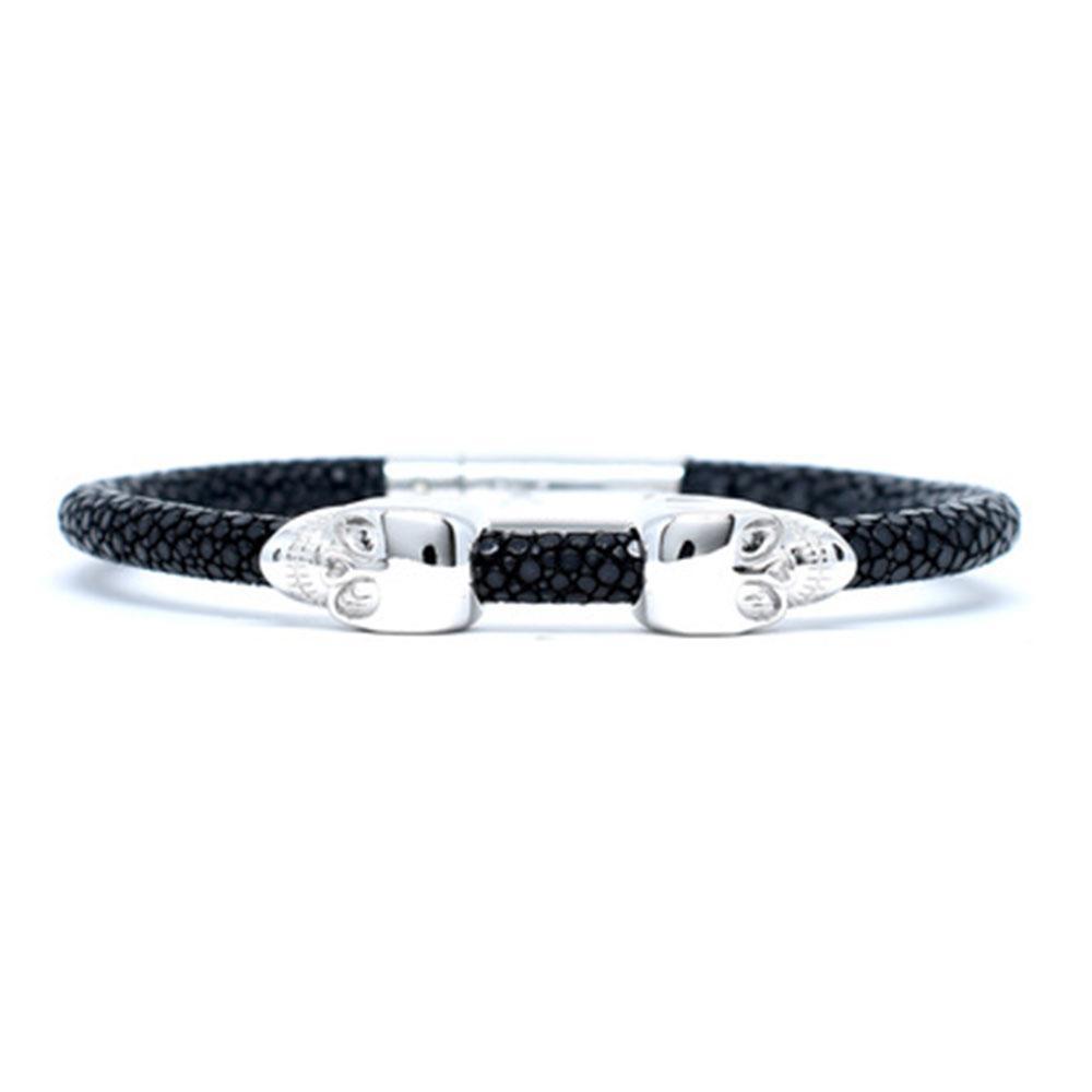 Skull Bracelet | Black | 2 Silver Skulls | Double Bone