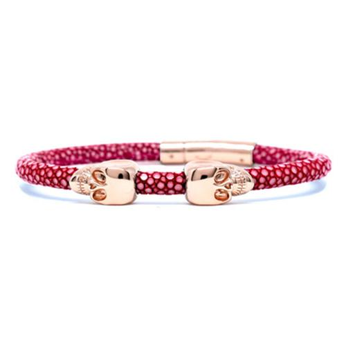 Bracelet | 2 Skulls | Red Wine/Rose Gold