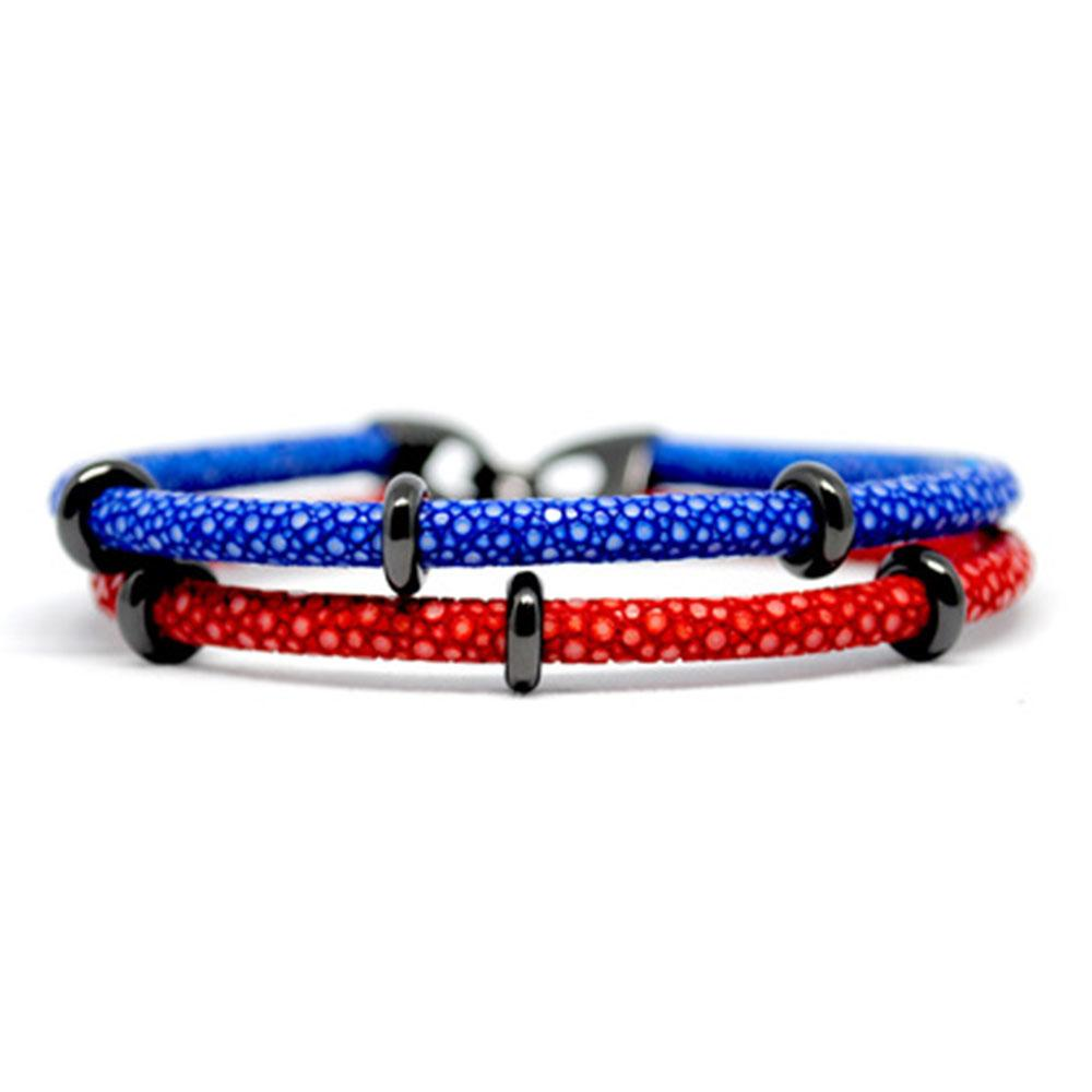 Double Stingray Bracelet | Red & Blue & Black | Double Bone
