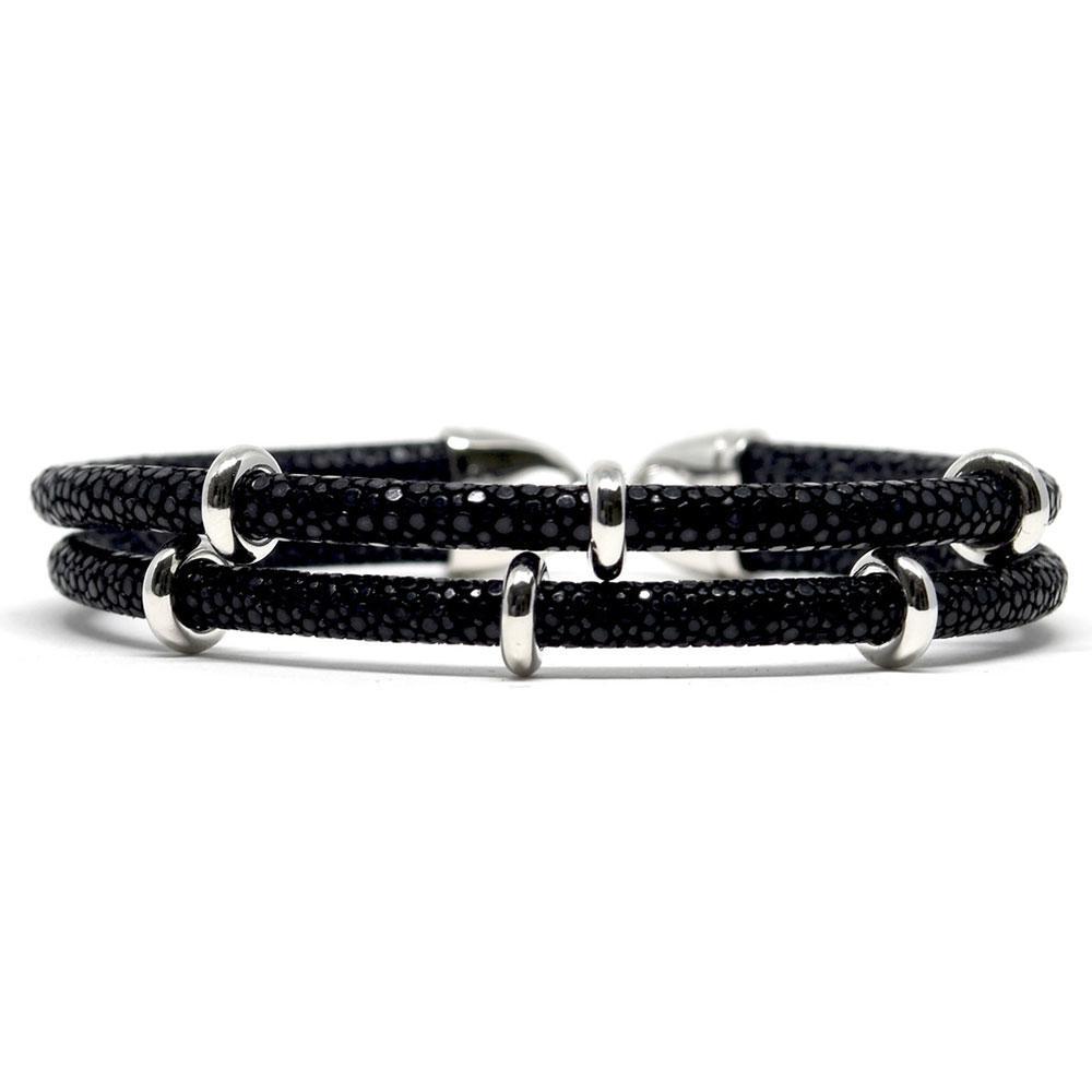 Double Stingray Bracelet   Black & Silver   Double Bone