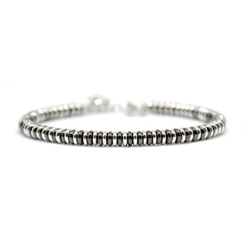 Bracelet | Single Beads | Black/White Gold
