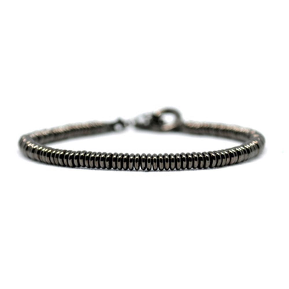 Single Beaded Bracelet   Black Beads   Double Bone