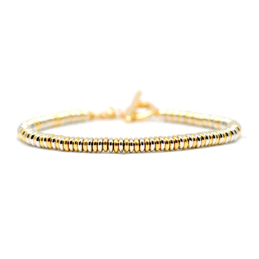 Single Beaded Bracelet   White/Yellow Gold   Double Bone